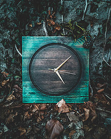 Hodiny - Turquoise - Smrekové drevené hodiny - 10578265_