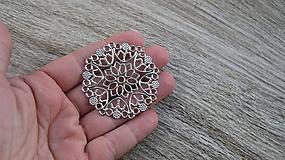 Komponenty - Filigrán mandala, platina 5 cm, 1 ks - 10576994_