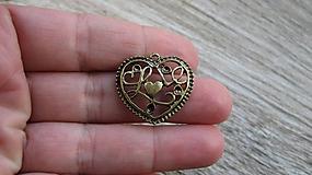 Komponenty - Prívesok srdce Love, 1 ks - 10577019_