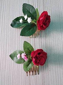 Ozdoby do vlasov - Červený mini hrebienok (biely/ružový) - 10576479_