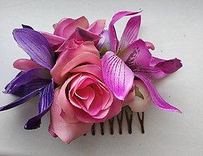 Ozdoby do vlasov - Exotický fialovo-ružovy hrebienok - 10577520_