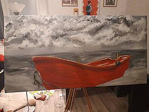 Obrazy - Červená loď - 10578066_