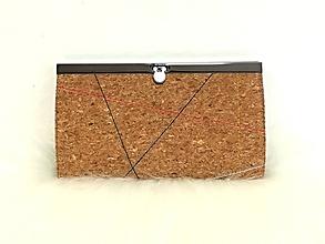 Peňaženky - Priehradková peňaženka korková, zdobená štepovaním - 10577836_
