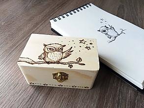 Krabičky - Box z prírodného dreva - Pán Sova a hviezdna obloha - 10577616_