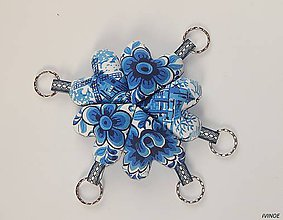 Kľúčenky - Prívesky na kľúče - modré s ľudovými motívmi - 10577141_