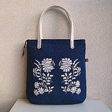 Veľké tašky - Džínsová taška na veľ. A4 modrá / folk kvety biele a modrotlač - 10577457_