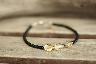 Náramky - Tenký náramok z minerálu onyx a citrín - 10575674_