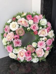 Dekorácie - Veľký veniec do ružova - 10576445_