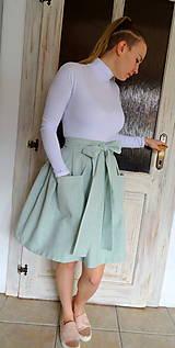 Sukne - ľanová sukňa - 10575450_