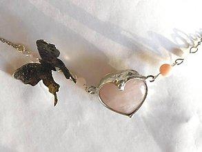 Náhrdelníky - Srdce ruženínu-z kolekcie Butterfly,tiffany - 10579390_