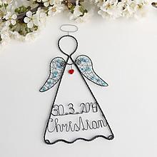 Detské doplnky - anjelik s menom a dátumom 20cm (Modrá) - 10578986_