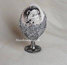Dekorácie - Vajíčko so stojanom - Labute - 10579065_