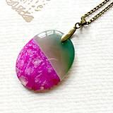 Náhrdelníky - Pink Green Agate Bronze Pendant / Prívesok ovál s achátom #2012 - 10579697_