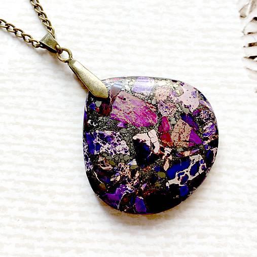Violet Varsicite Bronze Pendant / Prívesok s fialovým variscitom #2004