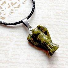 Náhrdelníky - Simple Gemstone Angel Necklace / Náhrdelník anjel s minerálom #2057 (Unakit) - 10578904_