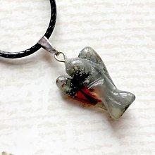 Náhrdelníky - Simple Gemstone Angel Necklace / Náhrdelník anjel s minerálom #2057 (Achát) - 10578914_