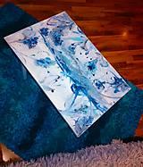 lel art design blue flowers-  stolík z poličky