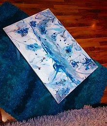 Nábytok - lel art design blue flowers-  stolík z poličky - 10581921_