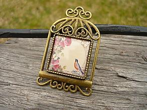 Odznaky/Brošne - Kovová brošňa Vintage Bird - 10580526_