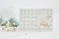 Papiernictvo - Veľkonočný pozdrav - mint pierka s konárikmi bahniatok - 10581115_