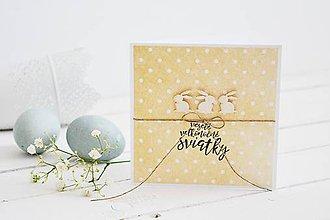 Papiernictvo - Veľkonočný pozdrav - mini zajačiky na bodkách - 10581133_