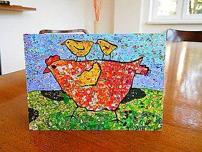 Papiernictvo - Andreas: Veľkonočná pohľadnica - Sliepkočky (s kuriatkami) - 10580784_