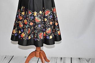 """Sukne - Saténová sukňa """"farebné kvety"""" - 10579238_"""