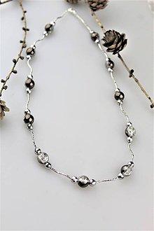 Náhrdelníky - krištálový náhrdelník - krištál čierno-biela aura - 10579933_