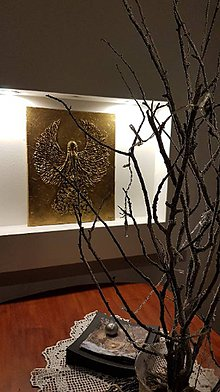 Obrazy - 3D reliéf, Anjel na plátne 50 x 40 cm - 10582177_
