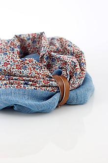 Šatky - Modrý kvetinový nákrčník z ľanu a bavlny
