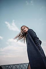 Kabáty - Modro fialový kabát - 10579164_
