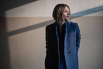 Kabáty - Modro fialový kabát - 10579172_