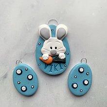 Dekorácie - Veľnočné vajíčka na zavesenie s menom - modré - 10581127_