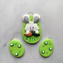Dekorácie - Veľnočné vajíčka na zavesenie s menom - zelené - 10581147_