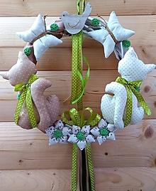 Dekorácie - Celoročný Veniec venček na dvere alebo do interiéru - Mačička mačičky (priemer 30 cm - Béžová) - 10579899_