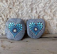 Drobnosti - Tyrkysová láska - Na kameni maľované - 10582218_