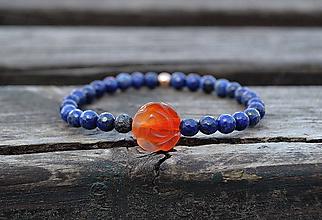 Náramky - Karneol kvet a Lapis Lazuli náramok - 10581025_