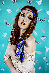 Ozdoby do vlasov - Multifunkčná čelenka modrá (2kusy) - 10579854_