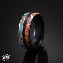 Prstene - drevený prsťeň- eben/javorový koreň - 10579777_