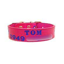 Pre zvieratká - Ružový obojok s modrými labkami a menom - 10578860_