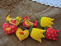Dekorácie - Jarná dekorácia - červeno / žltá SADA - 10580825_