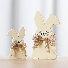 Dekorácie - Veľkonočná dekorácia z dreva - zajac žltý (sada (malý + veľký)) - 10578765_