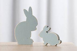 Dekorácie - Veľkonočná dekorácia z dreva - zajac tyrkysový - 10578915_
