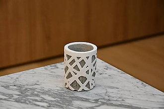 Dekorácie - Betónový kvetináč biely - 10581691_