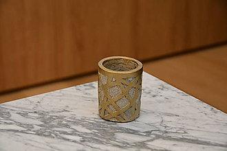Dekorácie - Betónový kvetináč zlatý - 10581751_