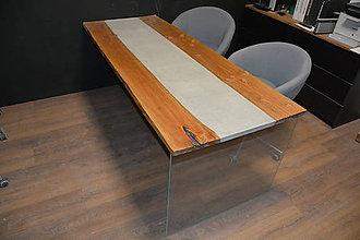 Nábytok - Levitujúci stôl z betónu a dreva - 10582404_