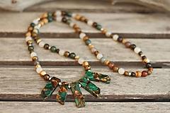 Náhrdelník z minerálov achát, bronzit, jaspis, jadeit, tigrie oko