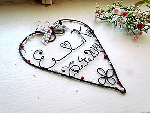 Dekorácie - Srdiečko s iniciálmi a dátumom (Biela) - 10580082_