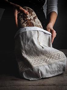 Úžitkový textil - Podšité vrecko na chlieb z ľanového plátna - 10580638_