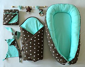 Textil - Velký set do pôrodnice Čokoláda a mentol - 10583867_
